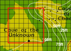 Underground Location of the Cave of the Unknown relative to the surface map